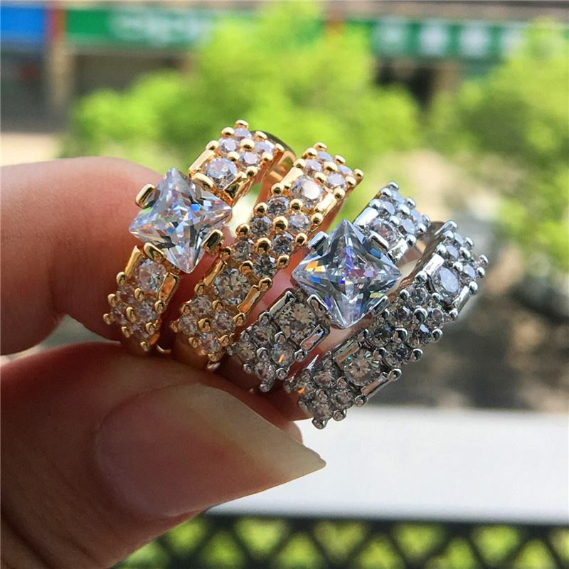 2 PCS Square Zircon Queen Princess Rings for Women Fashion Wedding Engagement Ring Gold Silver Color Bridal Lover Jewelry