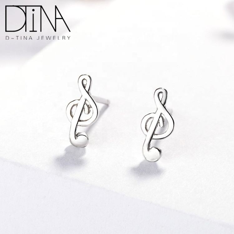 DTINA 925 Sterling Silver Stud Earrings Exquisite Smart Music Symbol Sweet Earrings