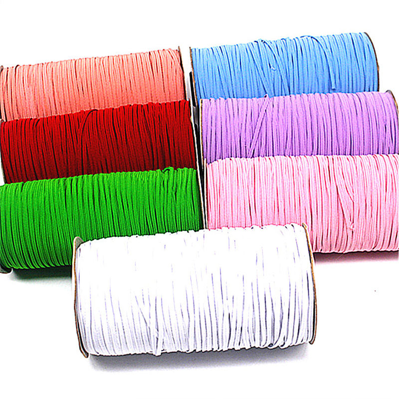 Multi-colors 6mm Flat Narrow Stripes Rubber Latex Thread Custom Knitted Elastic Bands For Clothing