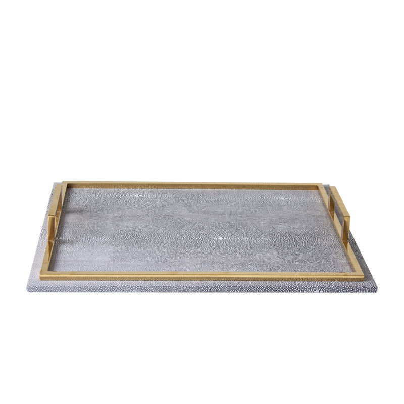 light luxury&modern leather decorative square serving tray