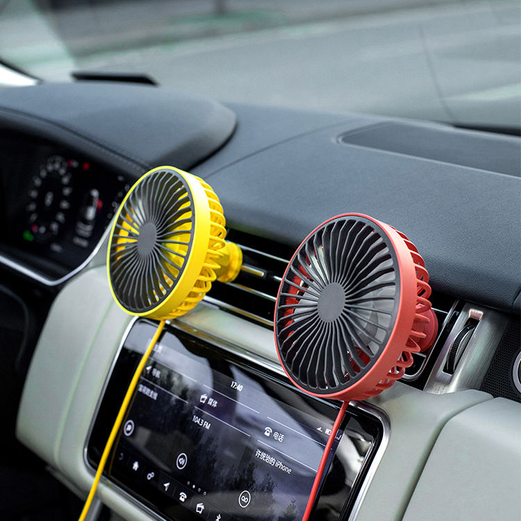 Factory Price 4 inch USB mini 3 Speed Car electric fan Rotatable air cooling fan with LED