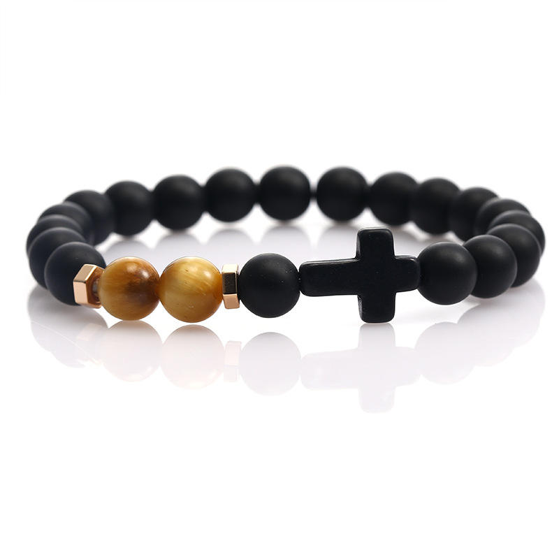 Simple wind natural stone hand string vintage cross handmade beaded black matte matching card bracelet