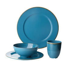 Lightweight 16 Pieces Melamine Noodles Soup Bowls Ice Rustic Top Winter Outdoor Tableware Deals  Blue Plate Set