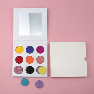 Custom your own brand 9 eyeshadow palette colors square shimmer vegan makeup richly pigment low MOQ no label fast shipping