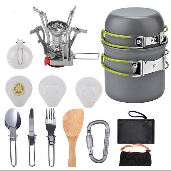 14 in 1 Outdoor camping cookware set picnic folding pot combination portable cooking set with burner for 1-2 Person