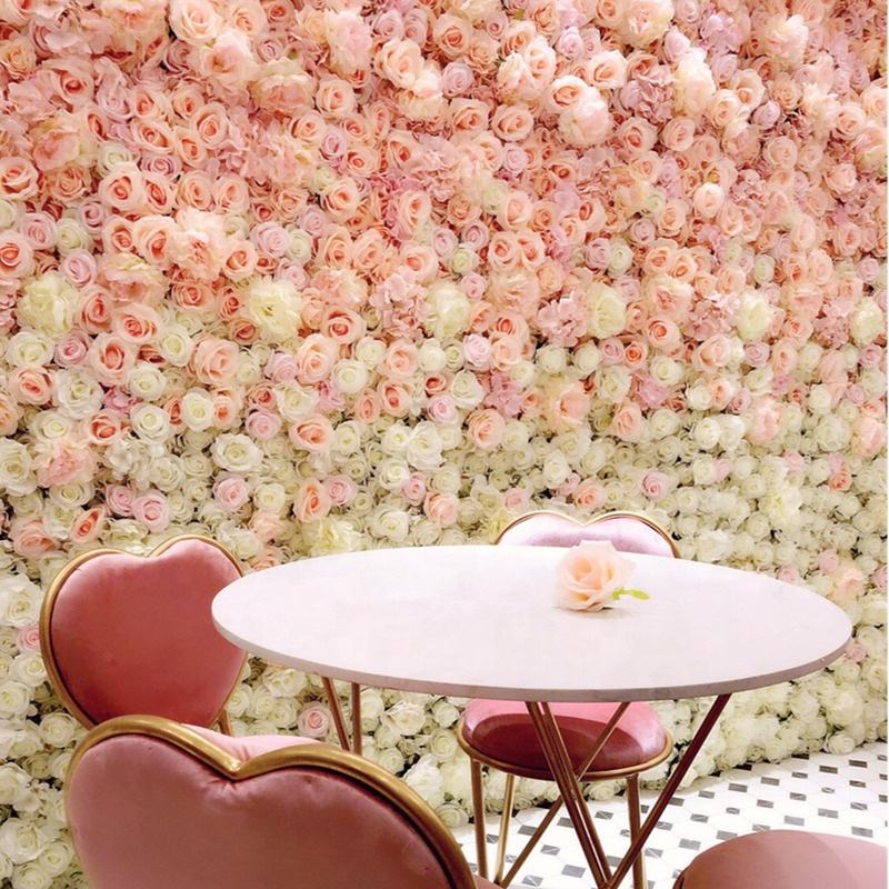 V-0128 Wholesale Wedding Backdrop Blush Artificial Flower Wall Panel Decor Artificial Silk Wedding Flower Wall Rose Backdrop