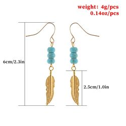 New earhook simple personality feather turquoise beaded earrings women's European and American