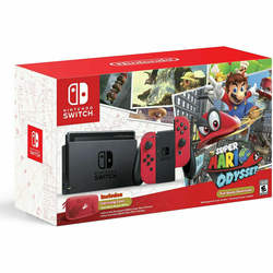 Nintendos Switch Neon Red and Neon Red Joy-Con Super Mario Odyssey w Mario Kart 8 Deluxe + Free Games