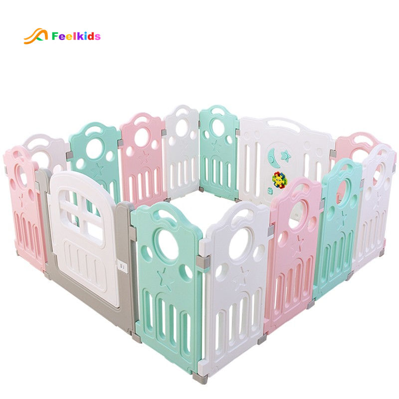 Baby plastic play fence side safety foldable playpen.