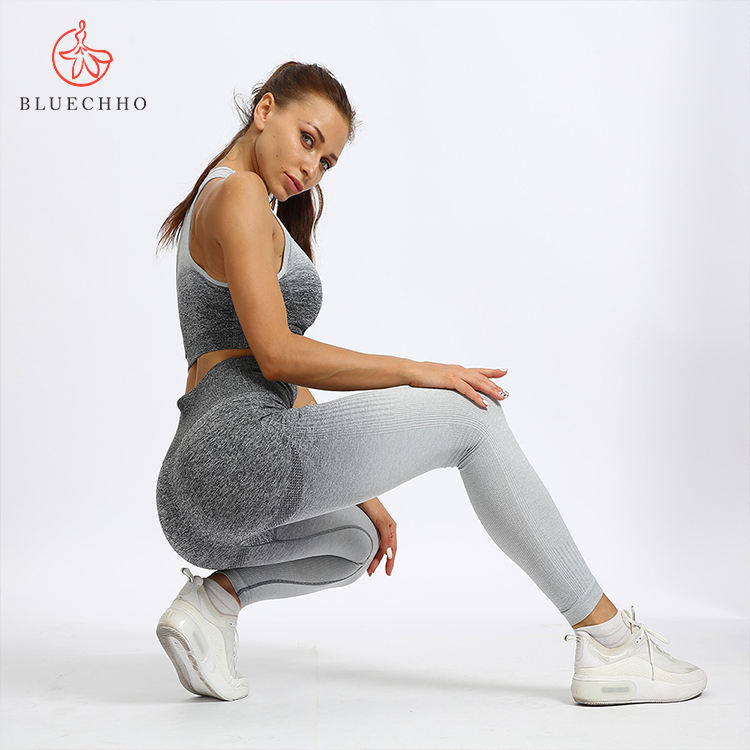 Hot selling seamless gym wear high waist fitness clothing Ombre womens yoga set