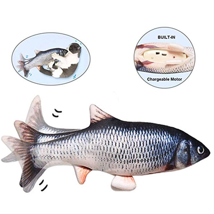 Wholesale cheap durable electric dog toy usb rechargeable fish interactive pet lifelike cat plush toy