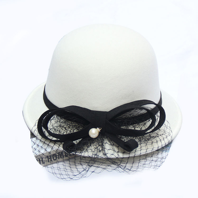 Fashion new design cheap price winter autumn woolen bowler white church Hats for lady