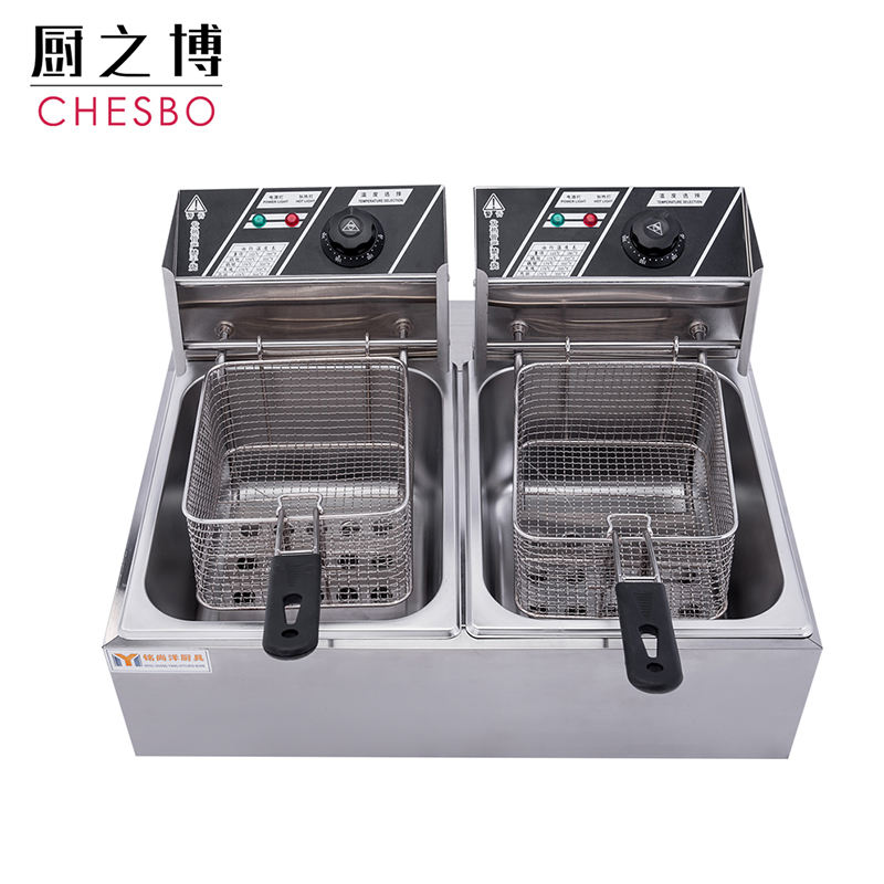 20L 2500 Watt Stainless Steel Two Baskets Table Top Chips Electric Deep Fryer with Temperature Control