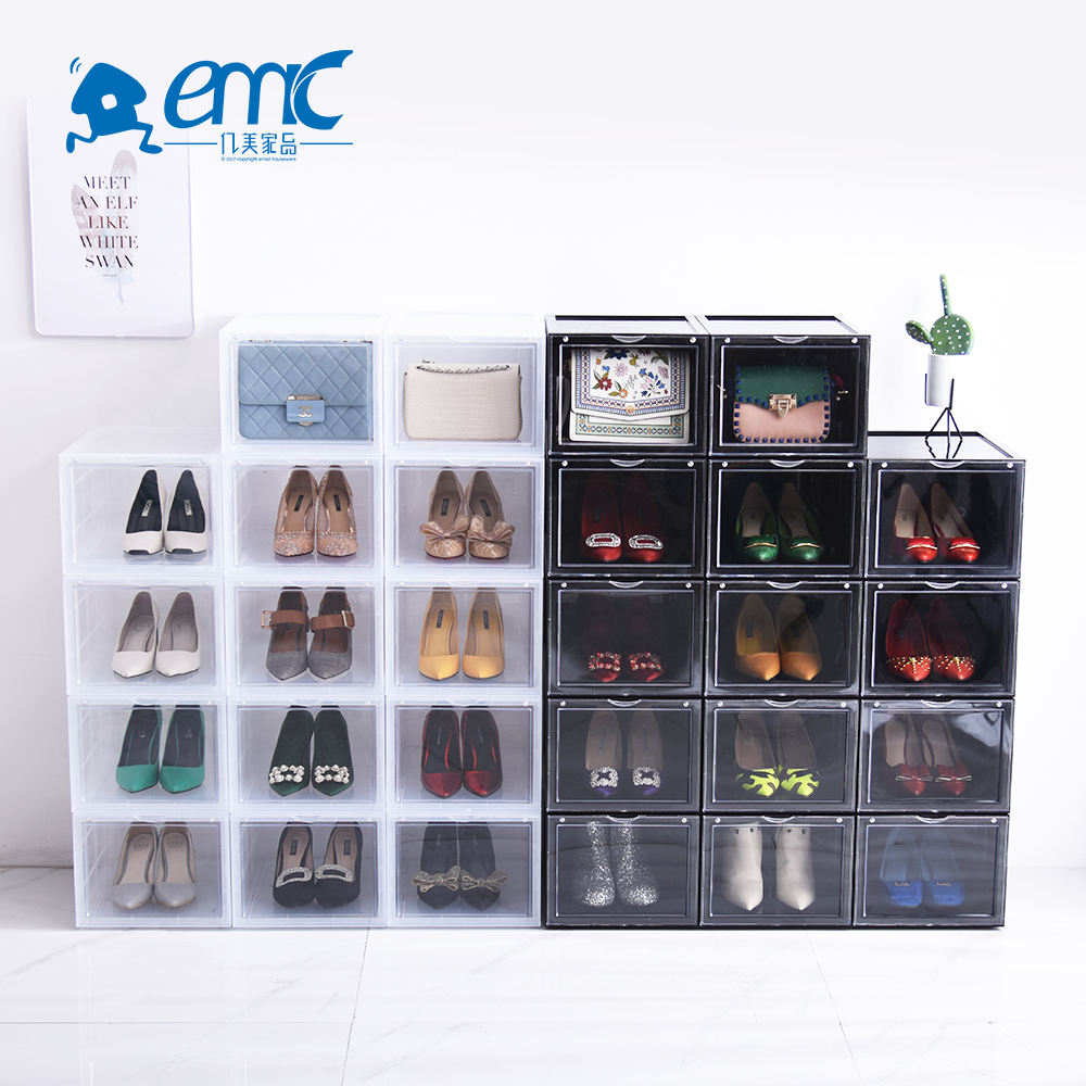 2 tier space saving saver plastic clear stackable shoe organizer