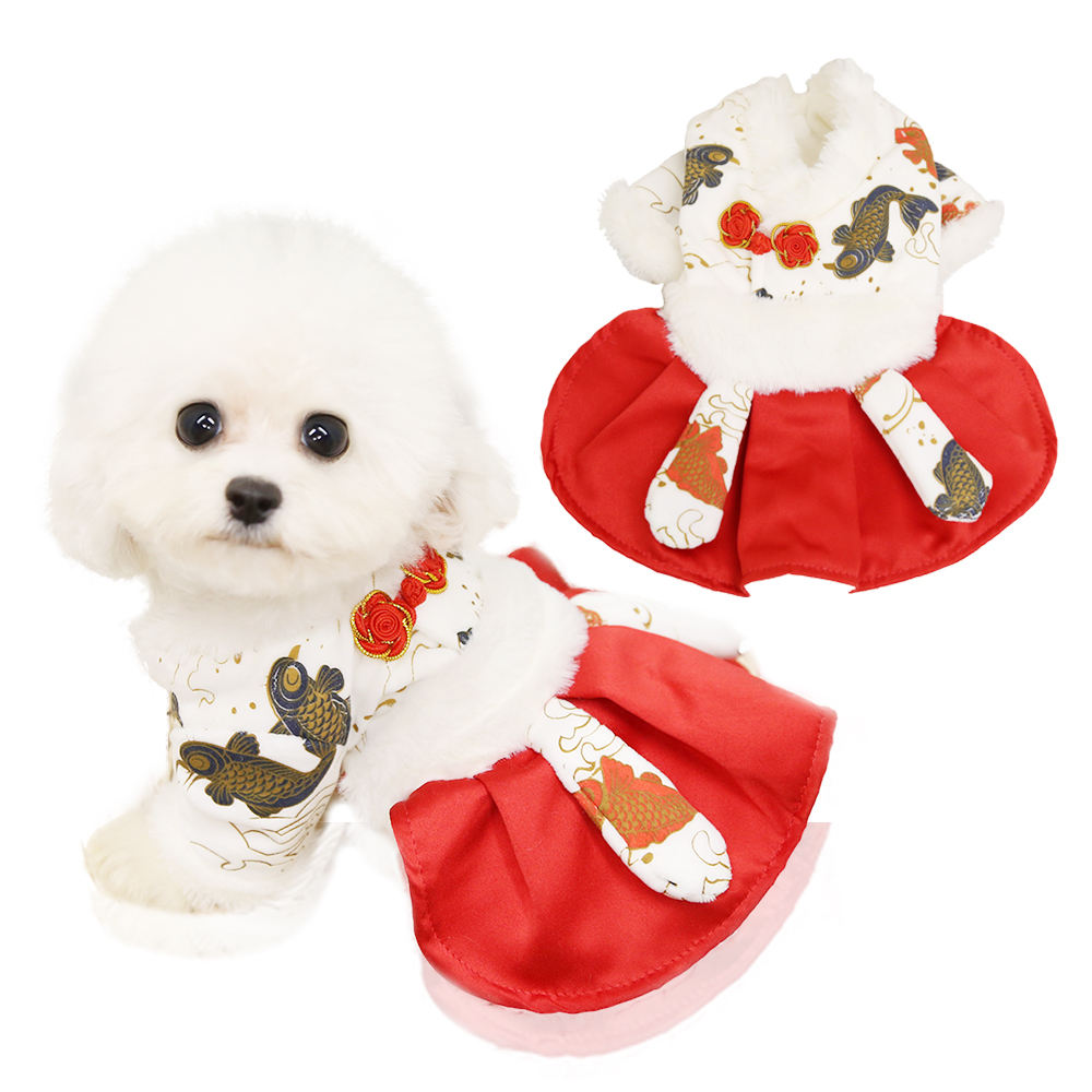New Designer New Year Koi Skirt Luxury Pet Apparel Dress Puppy Dog Dress Clothes