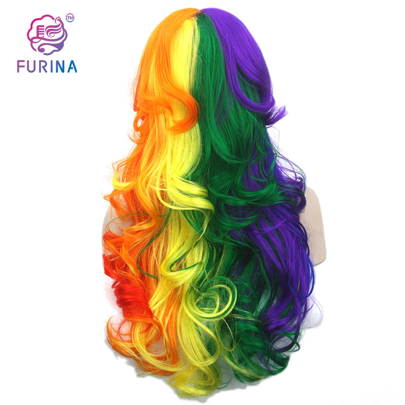 China manufacture colored cosplay anime wig long wavy wigs synthetic hair ombre cosplay wig blonde