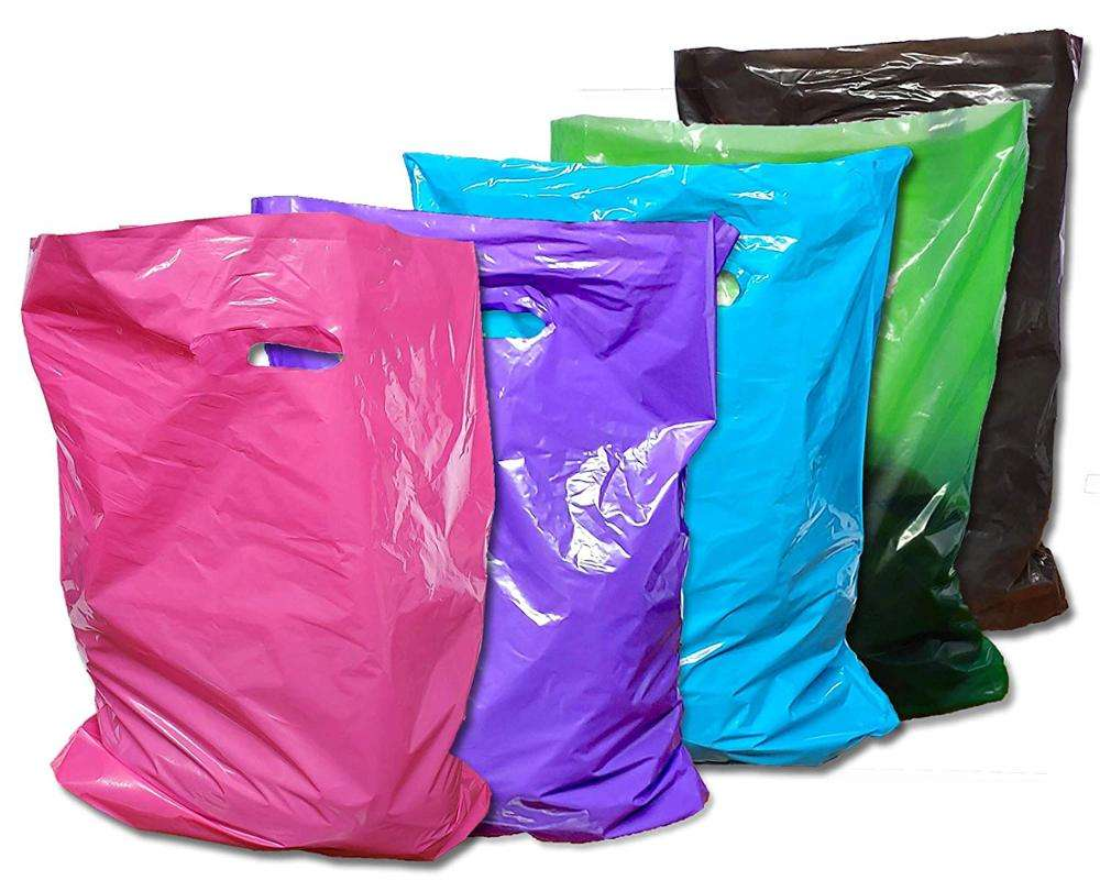 Plastic Merchandise Bags 3Sizes Colorful Solid Retail Glossy Shopping Bag with Die Cut Handle