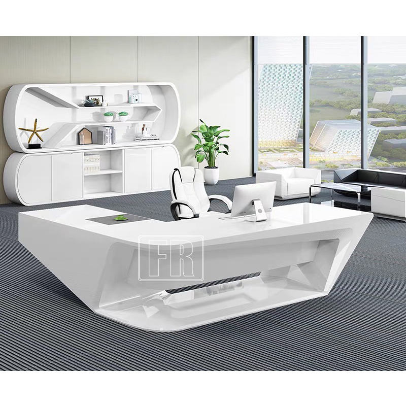 Modern furniture executive CEO computer table curved shape white reception office desk and workstations
