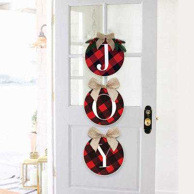 Medoore Joy Sign Buffalo Check Plaid Christmas Wreath for Front Door Christmas Holiday Indoor Home Decor Rustic Burlap Wooden Ho