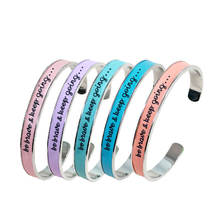Open Stainless Steel C-shaped Bracelet DIY Customized Personalized Alphabet Bangle Colorful leather Steel Letter Print Bangle