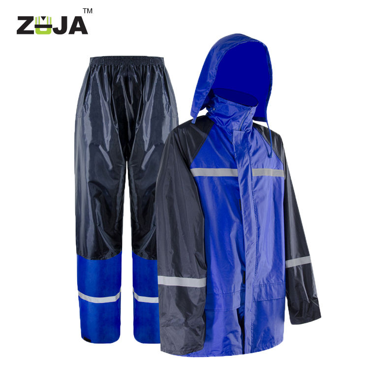 ZUJA PVC Rain Pants Suit Security Safety Raincoat Reflective Raincoat