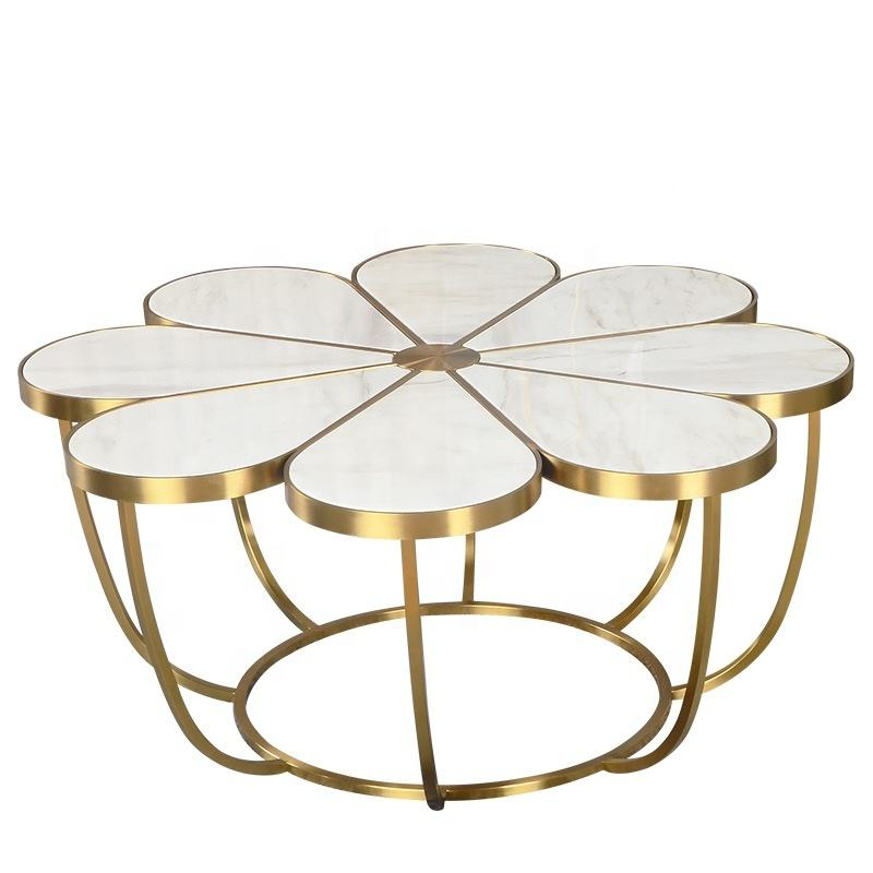 Modern style gold stainless steel with marble top coffee table