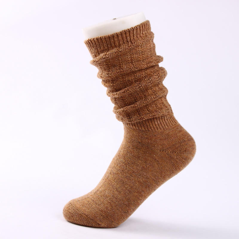 Customized 7 Colors For Women Girls Millennium Thick Slouch Hand Knitted Wool Sock