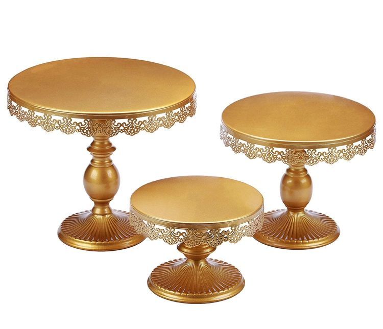 Wedding Cake Stand Gold Display Cup Cake Base Stand Metal Swing Cake Tray Stand voor Birthday Party Bruiloft Decoratie