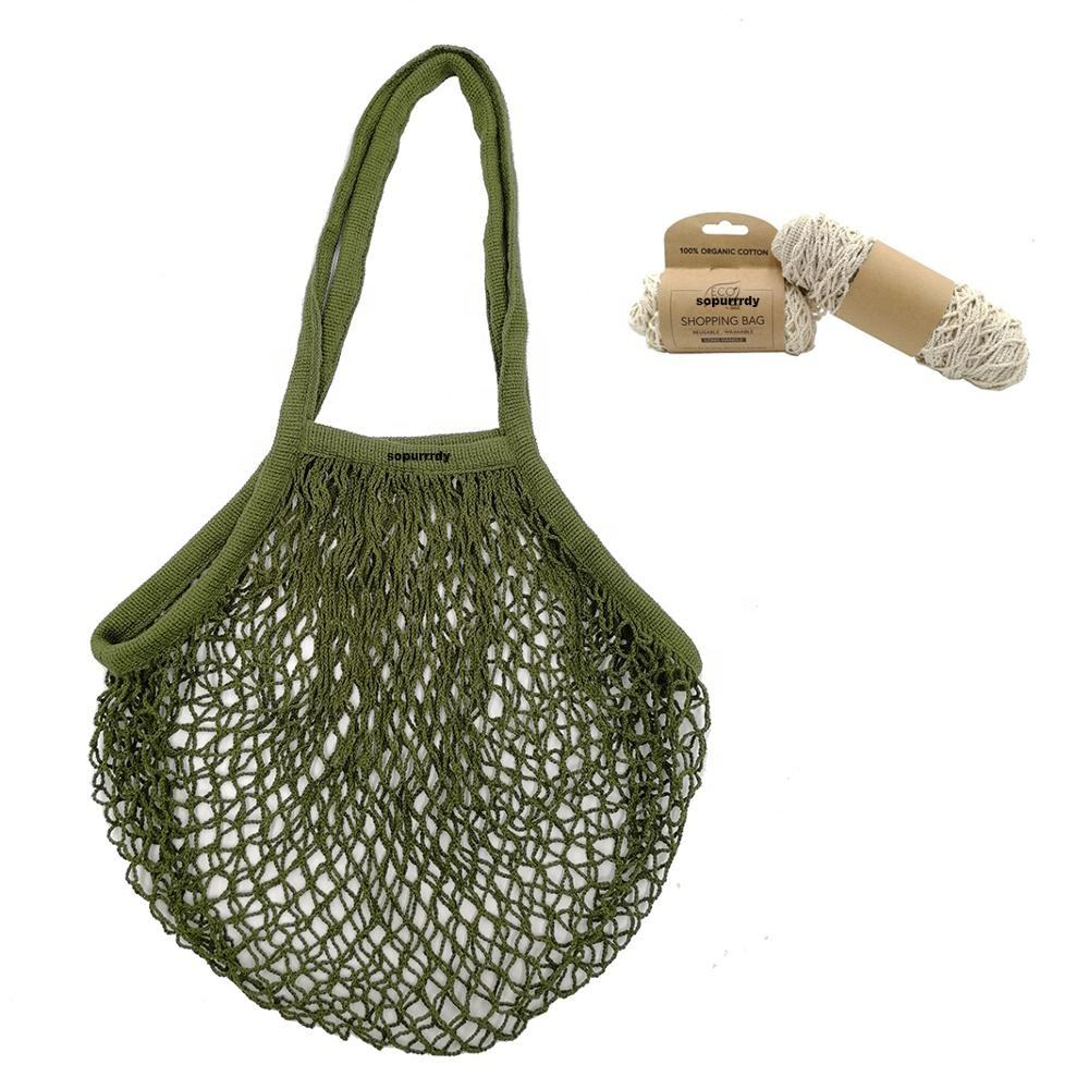 Free sample 100% organic eco friendly storage vegetable and fruit cotton mesh drawstring long handle beach net bag for shopping