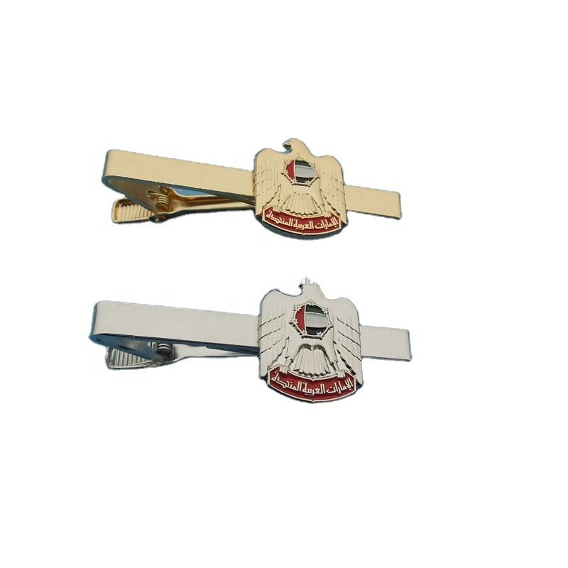 UAE falcon gold and silver engraved 3D metal tie clip