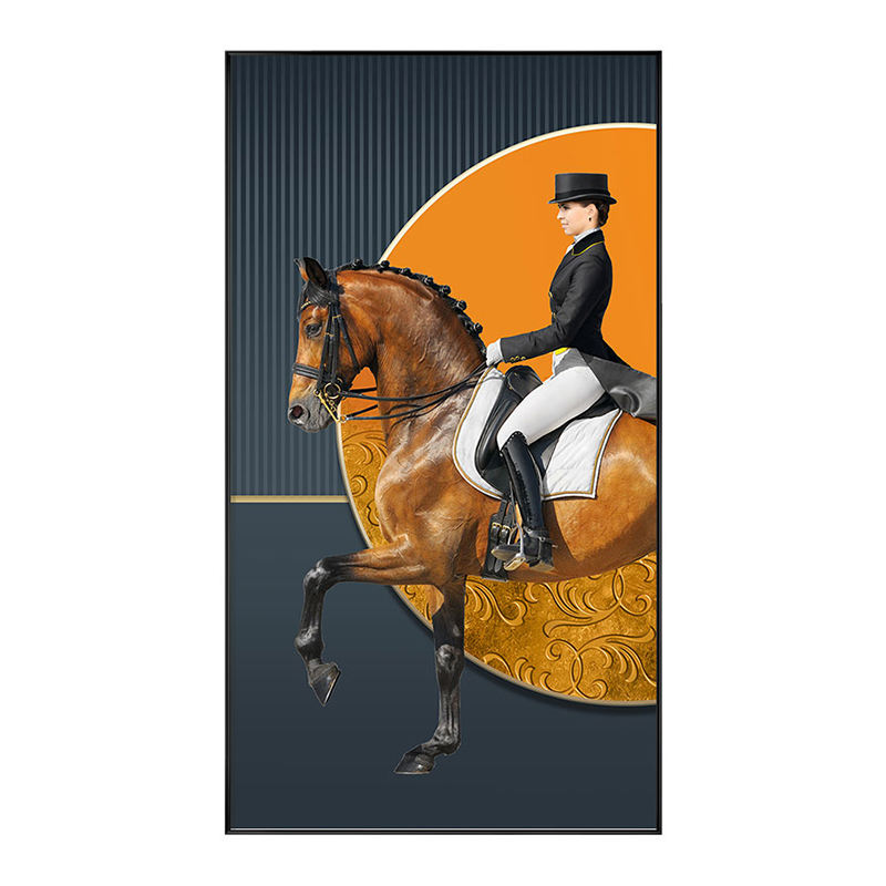 Classic Knight Golden Horse Wall Painting Large Art Canvas Hotel Restaurant Decorative Canvas Paintings