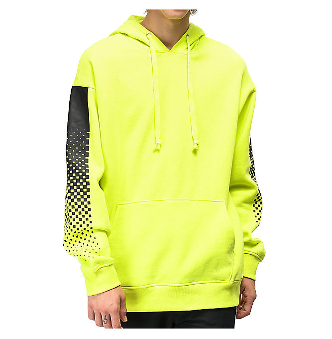 Men's Quality Custom Made Neon Lime Green Hooded Pullovers