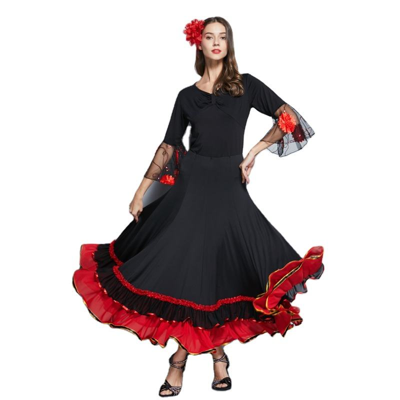 Flamenco Dance Long Skirt For Women Spain Dancing Ballroom Dance Skirt