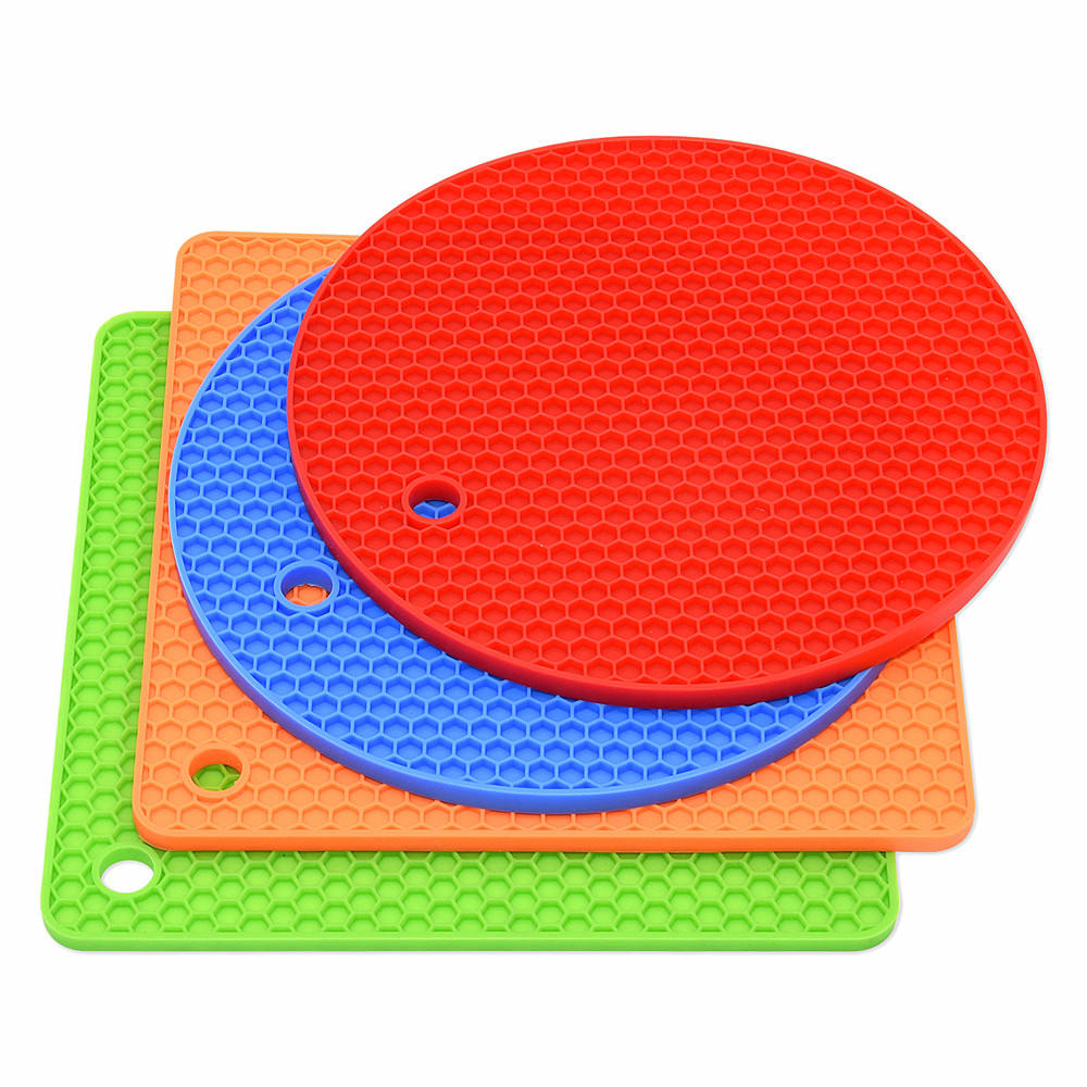 Kitchen Counter Safe Silicone Trivet Mats Hot Potholders Set Non-Slip Heat Resistance Oven Mitts Silicone Pot Holders