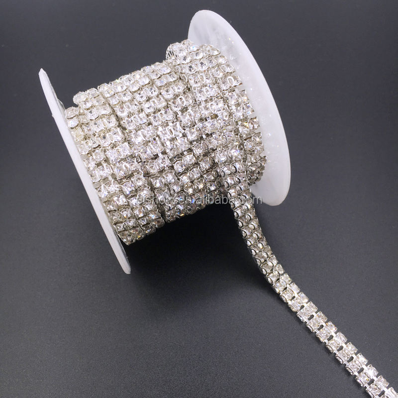 ss12 DIY 2 D claws rhinestone cup chain in roll used for wedding decoration