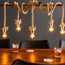 Decorative Lamp with Jute Hemp Rope Design Multi Bulbs Heads Lighting for Dining Table Cafe Bars and Restaurant Decoration Wood