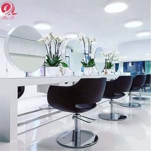 Hot sell salon equipment barber mirror station double sided white makeup round mirror for beauty salon