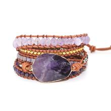 Adjustable Rope 5 Multilayer Natural Crystal Agate Turquoise Stone Wrap Bracelet Slipknot Amethyst Bracelet