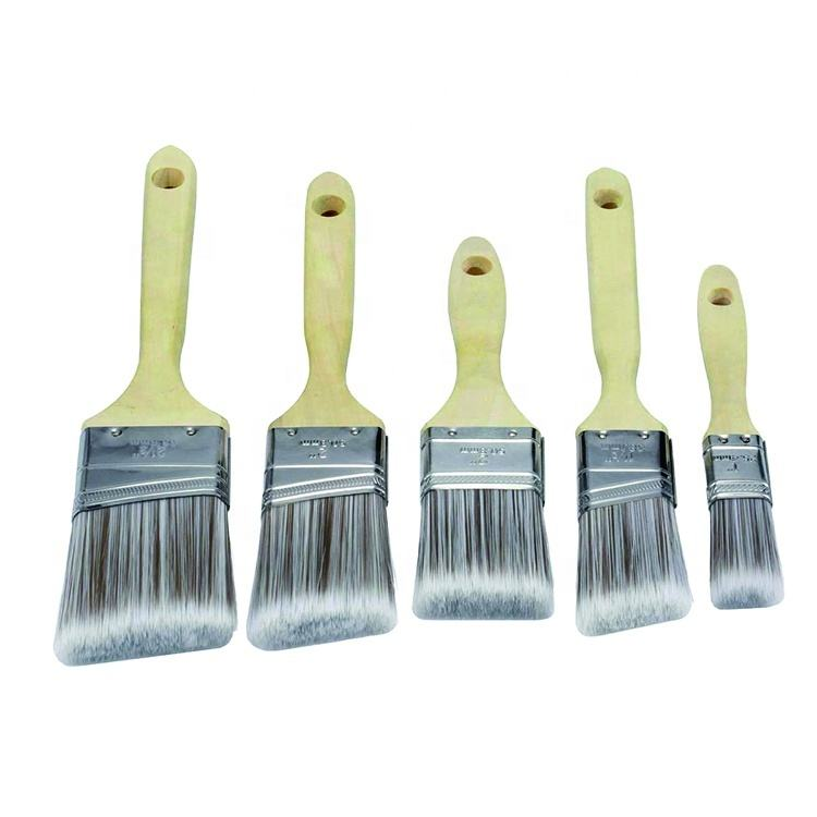 5 Sizes Angle Paint Brush with Wooden Handle Tapered Metal Ferrule for Home Decoration