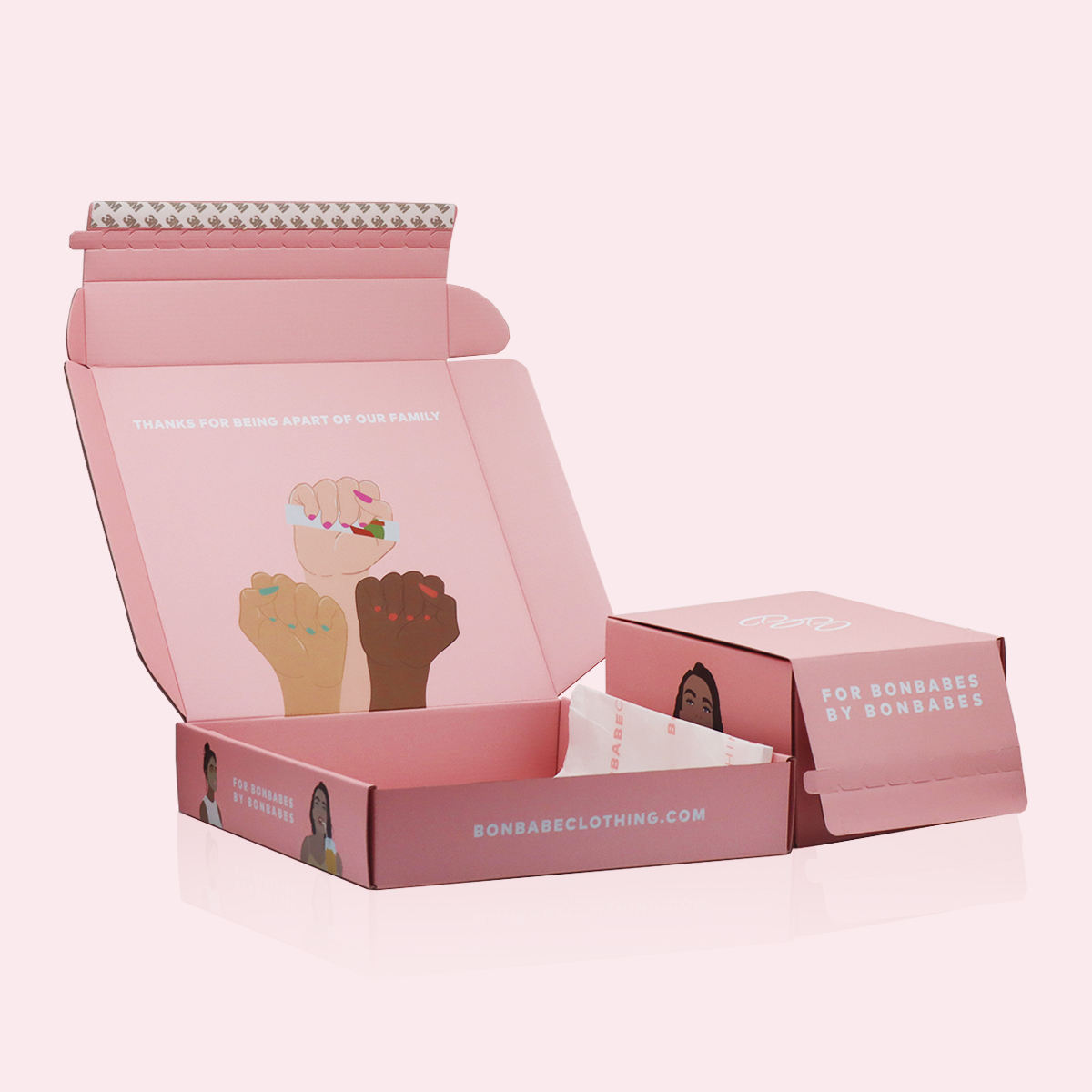Clothing boxes custom brand colored printed corrugated mailer shipping box packaging pink