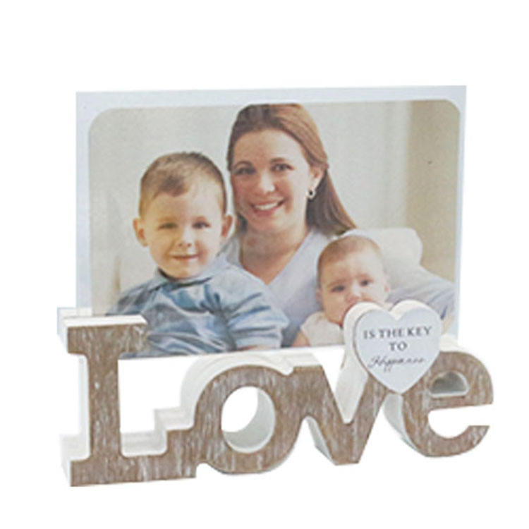 "love wooden photo frame with double plastic glass 4x6"" wood picture frame wooden photo frame for home decor"