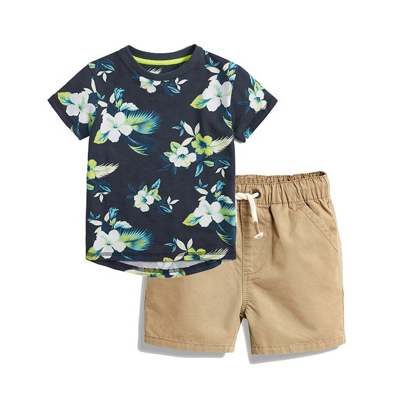 Hot Sale Wholesale Cheap High Quality White Flower Cotton Comfortable Trendy Baby Clothes Summer Boys