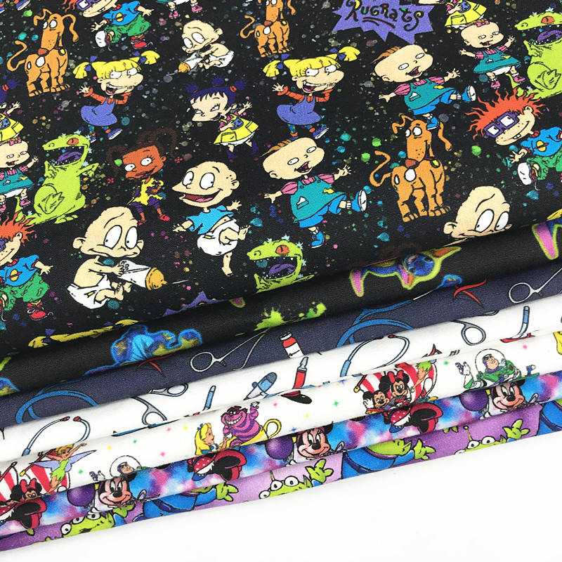 High quality cotton spandex printed fabric cartoon digital printing textile for kid's clothes