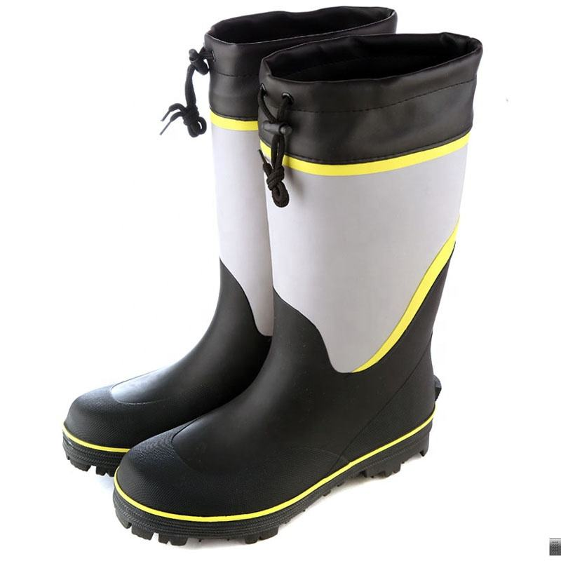 Winter warm cotton lining plus size 46 steel toe durable rubber men rain fishing wellington boot with pu collar