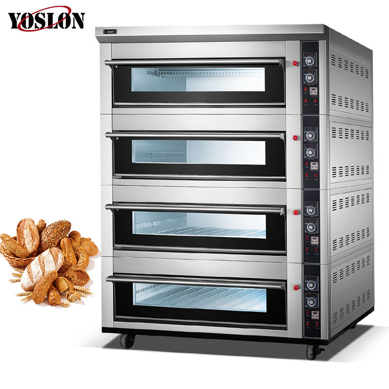 Yoslon Manufacturers Commercial, 4 Deck 16 Trays Pizza Bread Heating Gas Cake Oven/