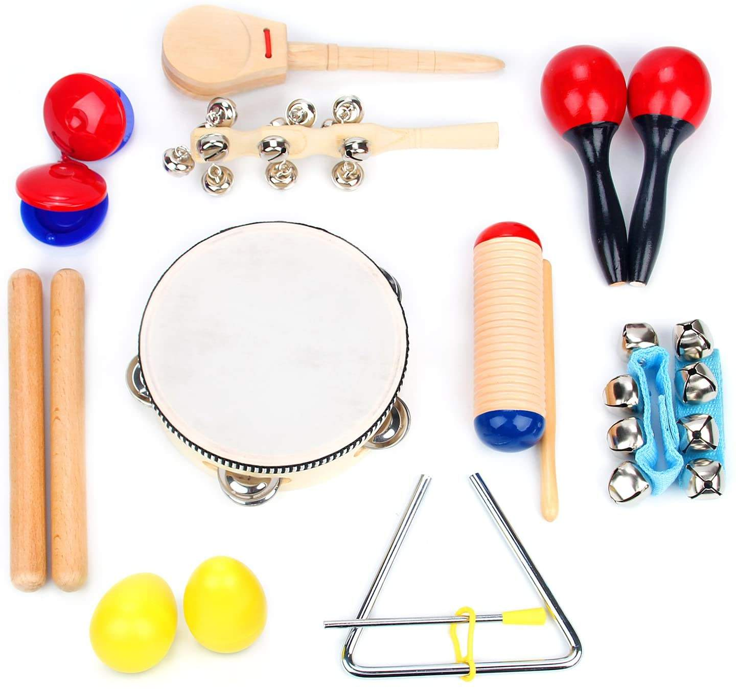 Toddler Educational & Musical Percussion for Kids & Children Instruments Set With Tambourine, Maracas