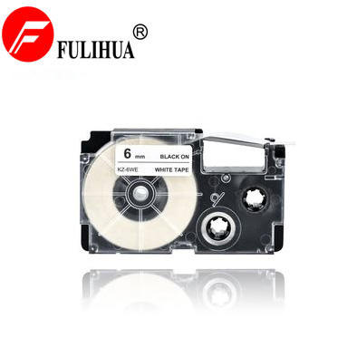 XR-6WE 6mm*8m Black on White Label Tape Compatible for Casio XR-6WE KL-60L/100/120/130/170PLUS/180/ E300/780/820/7400/8700/8800