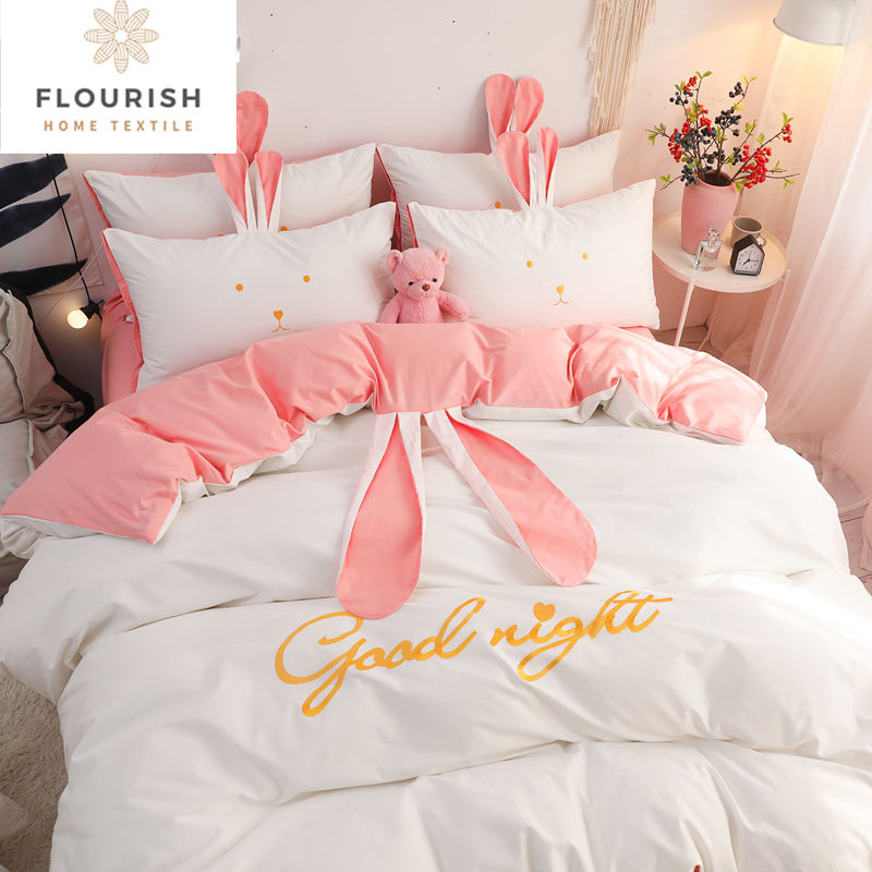 Flourish Oem/Odm King Size 100% Cotton Bedsheet Bedding Set Luxury Juegos Sabanas De Cama Drap De Lit For Home Wholesale