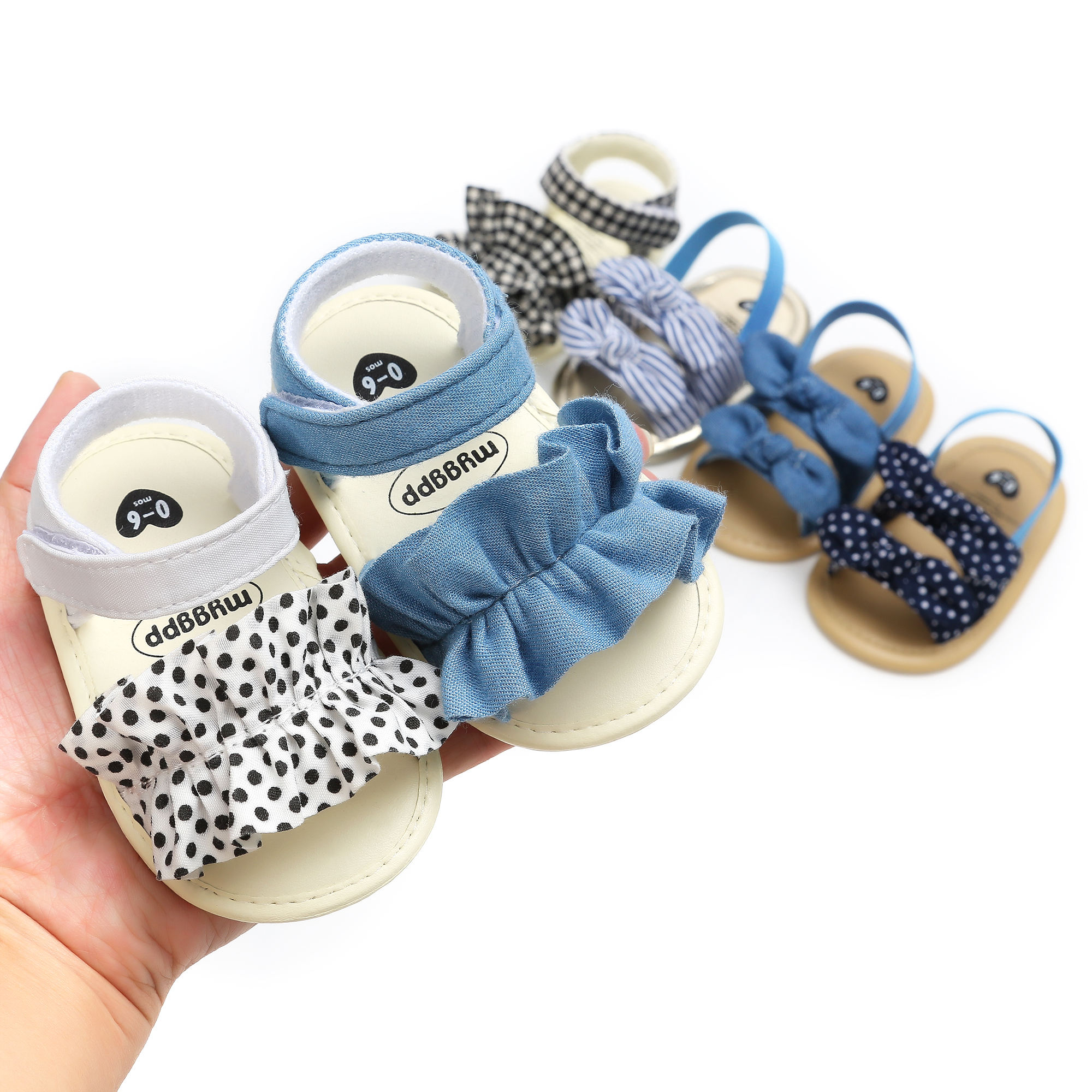 New designed Cotton fabric soft-sole 0-18 months anti-slip Walking infant crib Baby girl sandals