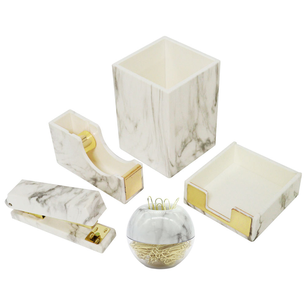 Stationery organizer for desk office luxury Marble White Texture stationery set
